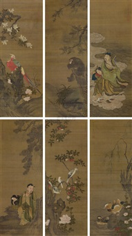 人物花卉 (figure and flower) (in 6 parts) by jiang yin