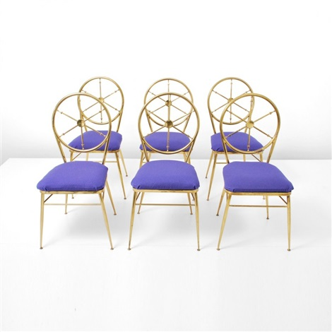 chairs with wheel design backs set of 6 by gio ponti