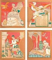 l'art du cambodge représenté par un sculpteur sur une tête de brahma (+ 3 others; 4 works) by louis edouard paul fournier