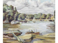 boats on the thames in west london by duncan grant