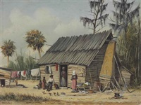 a cabin scene with washing on fence by william aiken walker