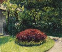massif de fleurs, jardin du petit-gennevilliers by gustave caillebotte