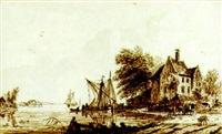 river landscape with a boat and a cart by a house by hendricus spilman