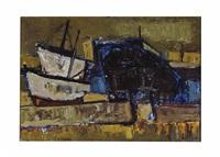 bateaux dans un port by raymond guerrier