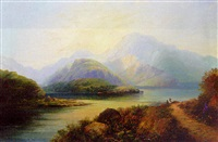 figures in a highland loch landscape at sunrise by h. smyth