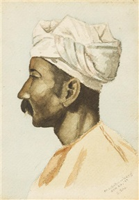 portrait of a turbaned man by morton livingston schamberg