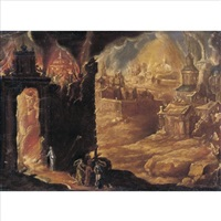 the destruction of sodom and gomorrah with lot and his daughters by diogo pereira