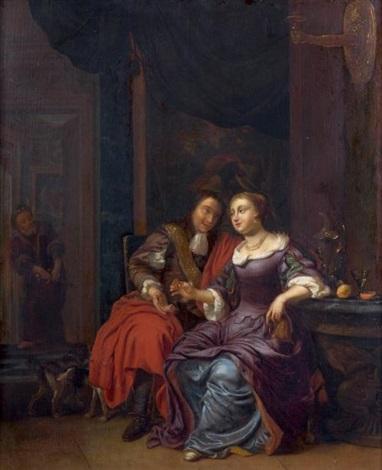scène galante by eglon hendrik van der neer