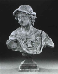 monumental bust, probably charles ii as mars by artus quellin iii