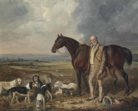 sir rowland hill, of hawkstone (1772-1842), with otter hounds, a terrier and his horse, in an extensive landscape by william collingwood smith