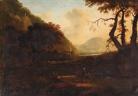 an italianate river landscape with travellers on a track by bartholomeus appelman
