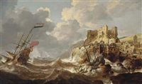 a coastal landscape with a dutch three-master in distress, a shipwreck in the foreground and a castle on a hill top nearby by bonaventura peeters the elder