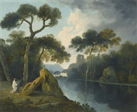a river landscape with monks conversing by a pair of megaliths, with ruins beyond by william hodges