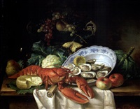 still life with lobster and oysters by jules bleir