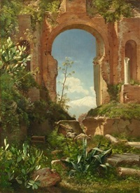 view through ruins on mount etna by carl frederik peder aagaard