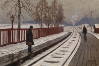 winter street scene and on the platform, two works by mikhail markianovich germanshev
