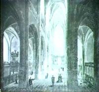 personnages dans un interieur d'eglise gothique by pierre-joseph lafontaine