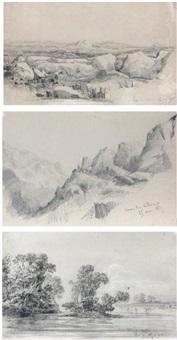 une vue de la sierra de cordoba, argentine (3 works) by auguste borget