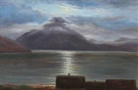 fiord scene from the faroe islands in moonlight by joen waagstein