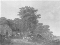 a wooded landscape with a horseman taking refreshment at a farmhouse, sheep and cattle by a pond in the foreground by gillis smak gregoor