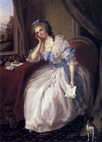 portrait of a lady with love letter by ludwig guttenbrunn