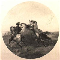 figures on horseback galloping in an extensive landscape by james william glass