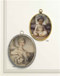 princess charlotte augusta of wales (1796-1817) as a young girl, in white tunic with jewelled clasps at shoulders, coral necklace and bracelet... by richard cosway