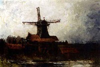 a windmill in a polder landscape by frederik willem zurcher