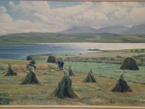 crofters making hay by h j squires