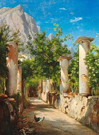ancient columns italy by carl frederik peder aagaard