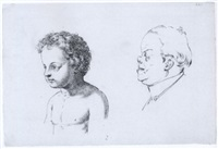 studies of a young boy and a middle-aged man in profile to the left by giuseppe sabatelli
