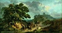 paysage avec un convoi militaire by johannes (jan) tavenraat