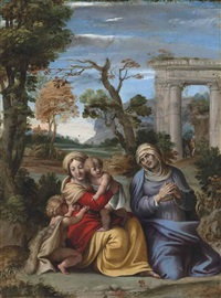 the madonna and child with the infant saint john the baptist and saint anne by innocenzo tacconi