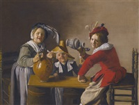interior with children drinking and mischief-making by jan miense molenaer
