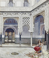 a courtyard in seville by f. liger hidalgo