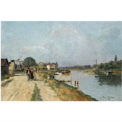 figures along a canal near paris by pierre louis léger vauthier