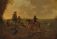 horsemen in a landscape by dirk stoop