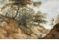 a wooded landscape with figures resting beside a country path by lodewijk de vadder