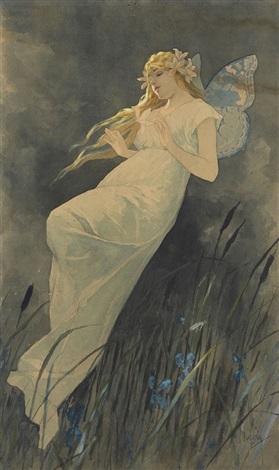 elfe mit irisblüten by alphonse mucha
