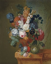 a tulip, an iris, roses, chrysanthemums, polyanthas and other flowers by pieter faes