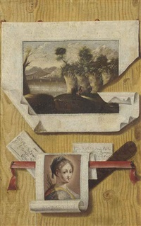 a tromp l'oeil of two paintings and two letters by andrea domenico remps