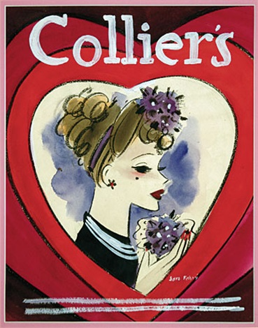 lucille ball in a heart shaped surround preliminary magazine cover illus for colliers by jaro fabry