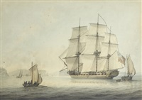 a sloop off the french coast by samuel atkins