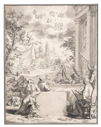 an allegorical frontispiece, perhaps a reflection on human frailty by bernard picart