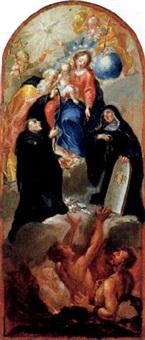 maria mit drei heiligen als retterin der armen seelen im fegefeuer by franz joseph spiegler