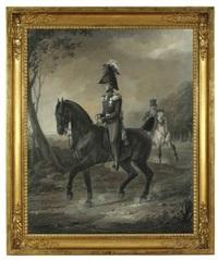 wilhelm malte fürst zu putbus zu pferde / luise fürstin zu putbus mit ihrer tochter clothilde zu pferde by franz krüger
