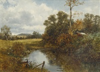 the moorhen's rest; a woodland pool, sunset by david bates
