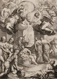anbetung der hirten (after johann rottenhammer) by lukas kilian