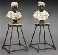 pr. italian variegated and black marble busts of blackmoors by anonymous-italian
