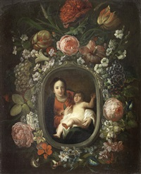 the madonna and child within a garland of fruit and flowers by frans ykens